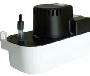 A very compact, black motor and white reservoir versatile tank pump for condensate removal
