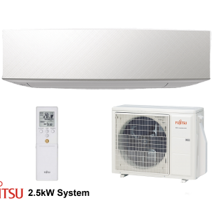 Evomart Fujitsu-Designer (White) 2.5kW R32 Set Indoor Outdoor