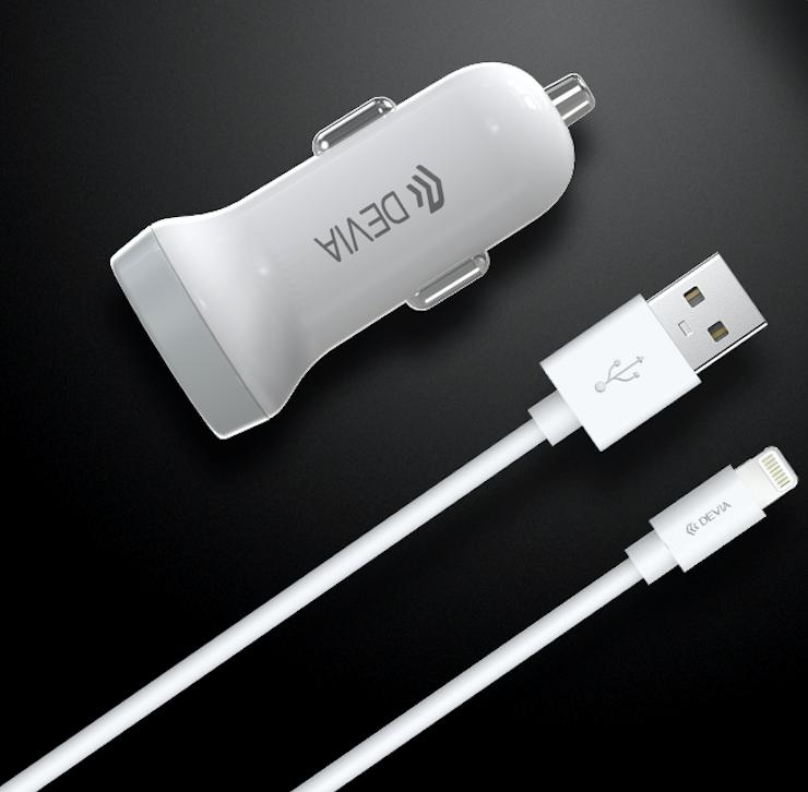 Car Adaptor Dual Port USB-A inc. 1m Lightning Cable White Devia
